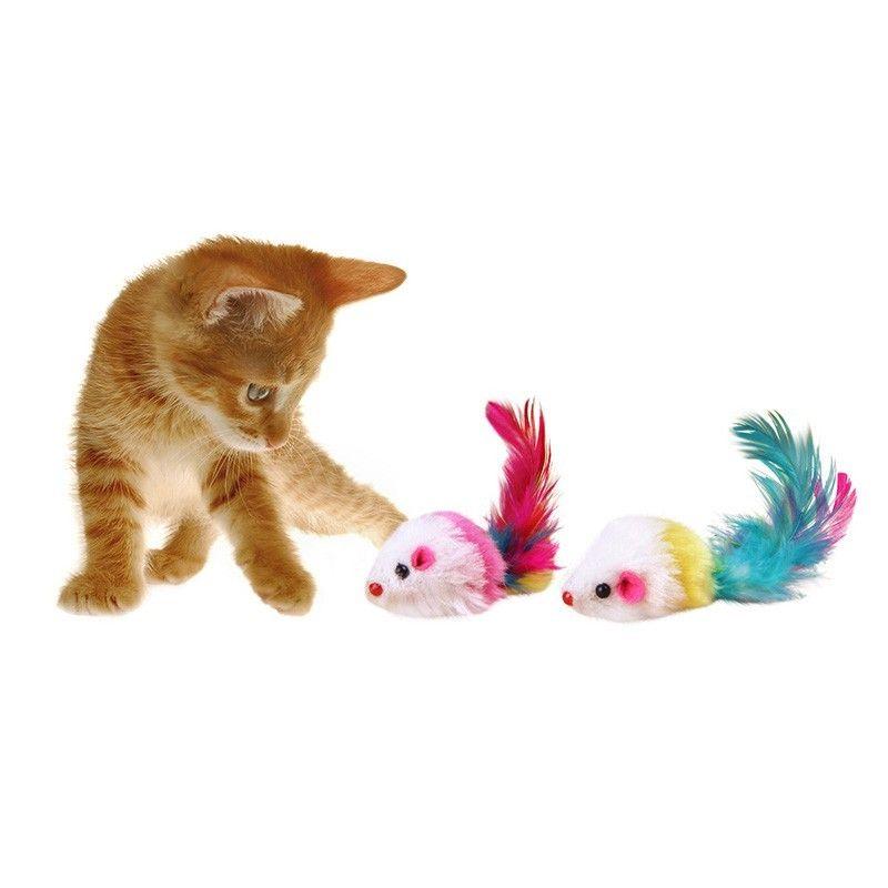 Komik Yanlış Fare Sıçan Oyuncaklar için Kedi Yavrusu Renkli Peluş Mini Fare Oyuncaklar Evcil Kedi Oynarken Oyuncak Rastgele Renk