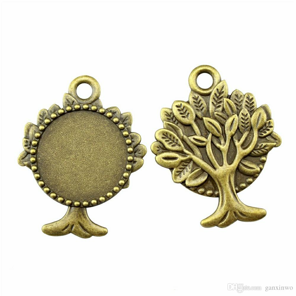 4 Pieces Cabochon Cameo Base Tray Bezel Blank Wholesale Lots Bulk Buds Tree Single Side Inner Size 30mm Round Necklace Pendant Setting