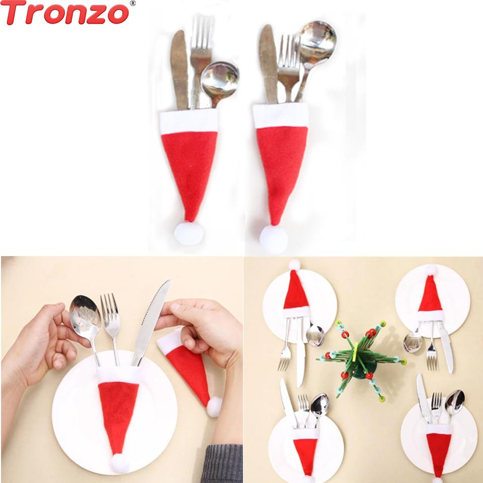 Tronzo Christmas Hat Silverware Holders Cover 10pcs Christmas Decorations For Home Natal 2018 Navidad Nonwoven Knife Fork Covers Y18102609