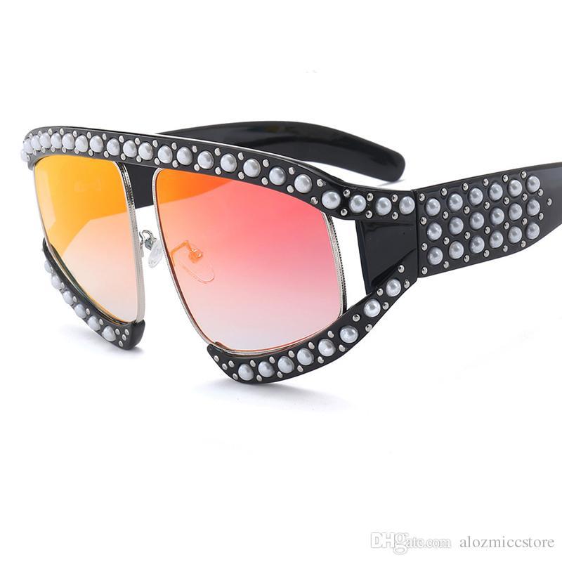 2018 Italy Brand Designer Pilot Sunglasses Women Oversized Pearl Frame Crystal Sun Glasses For Female Male Clear Goggle Eyewear UV400 W100