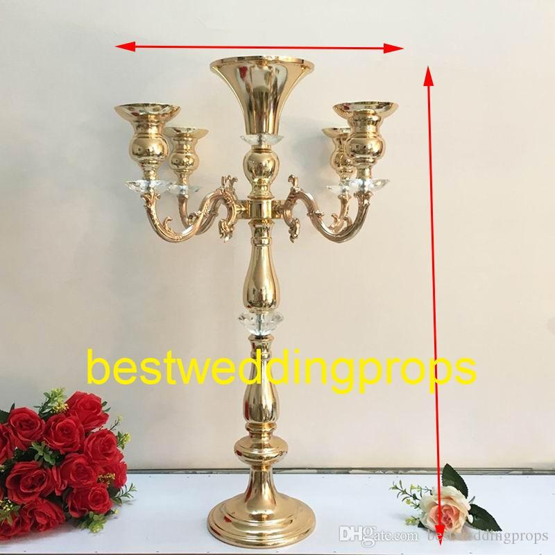 Neue Metall Kerzenhalter 5-Arm Kerzenständer Hochzeitsdekoration Kandelaber Centerpiece Kerzenständer Silber / Gold best0084