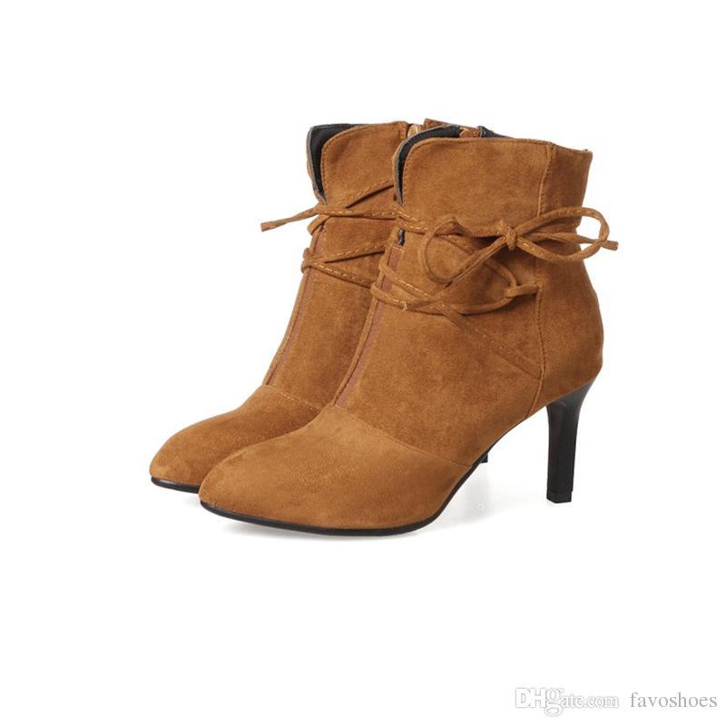 Stivaletti da donna da donna, in camoscio sintetico, punta a punta, tacco alto, scarpe con lacci con tacco a spillo, B617