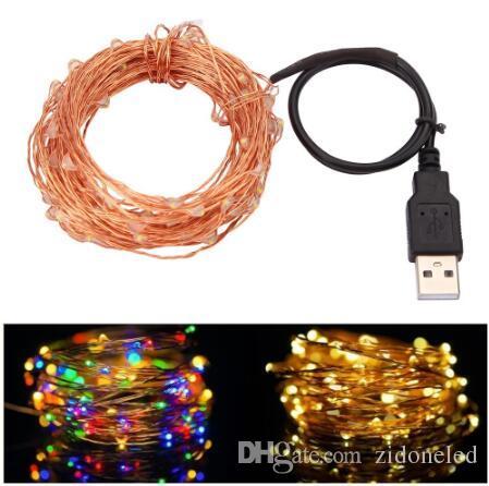 10M 33FT 100led USB بقيادة الأسلاك النحاسية سلسلة أضواء الجنية أضواء للماء لعيد الميلاد حفل زفاف جارلاند الديكور