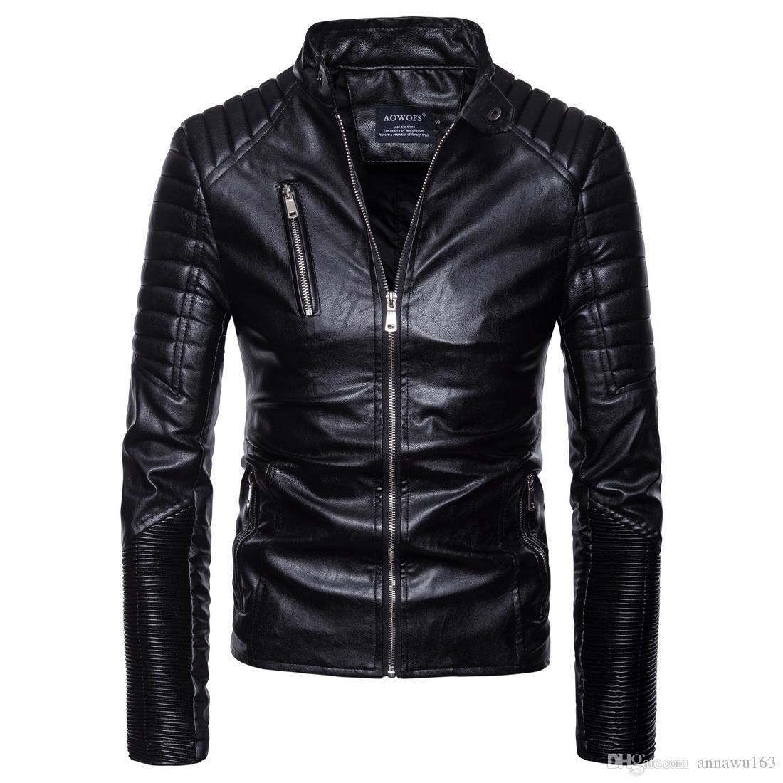 Горячая продажа Мужская PU кожаная куртка Короткие Тонкий досуг Мужской Outwear пальто высокого качества вскользь куртка мотоцикла Europe Размер S-2XL