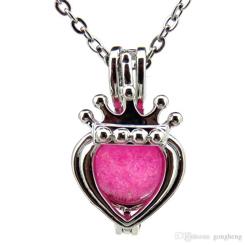 Silver Mini Crown Heart Hollow Essential Oil Diffuser Locket Women Aromatherapy Beads Pearl Oyster Cage Necklace Pendant-Boutique gift