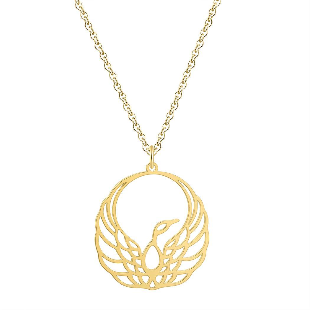 10pcs/lot Bird Origami Phoenix Pendant Necklace Gold Chain Necklace Women Animal Jewelry Accessories Men Necklace