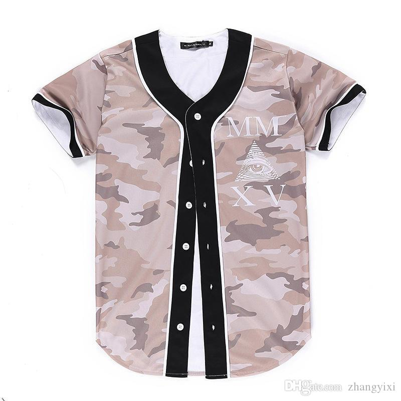 Wholesale Free Shipping Fashion Men baseball Jersey harajuku style Tee shirts 3d print Baseball short sleeve summer V-Neck t shirt