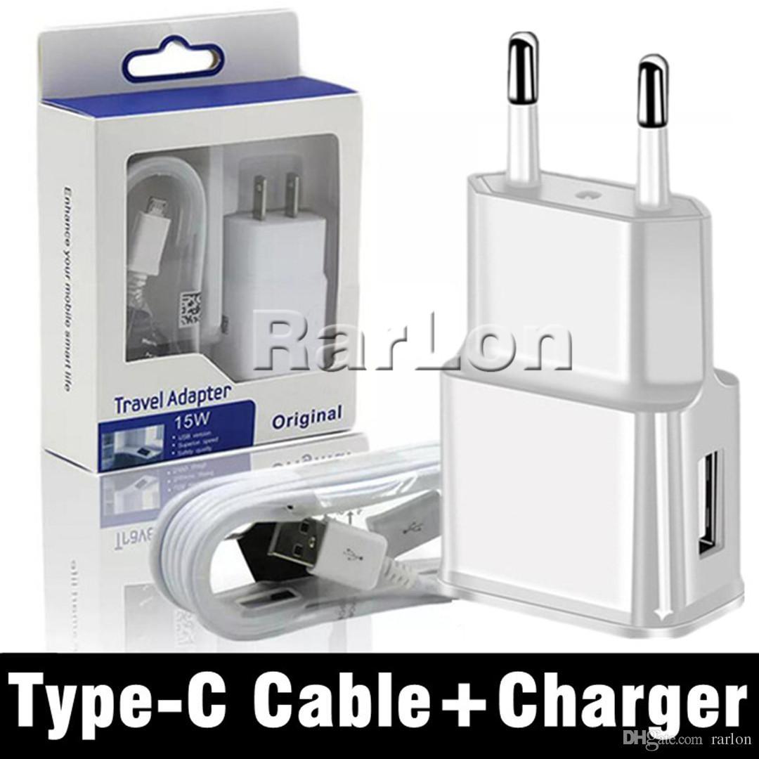 2 en 1 Kits de chargeur mural 2A US EU Plug Accueil Voyage Adpater avec 1.2M Type C USB Câble de données pour S6 S7 S8 S9 Goophone avec le paquet de détail