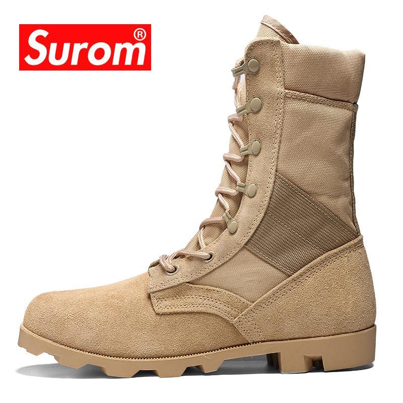SUROM Открытый Тактические Сапоги Кемпинг Мужская Обувь Обувь Для Взрослых Кожа Треккинг Кроссовки