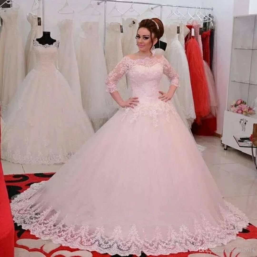 Off the Shoulder Bola Vestidos Vestido de 3/4 mangas Lace Appliqued Plus Size Lace-up Voltar vestidos de noiva baratos Custom Made vestidos de noiva