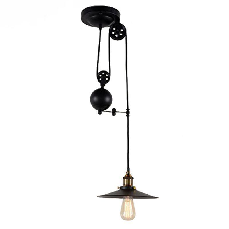 Retractable Hang Light Vintage Loft Industrial Pendant Lights Adjustable Max Drop 1.5m Wire Lamps,diameter 26cm 2m single-headed