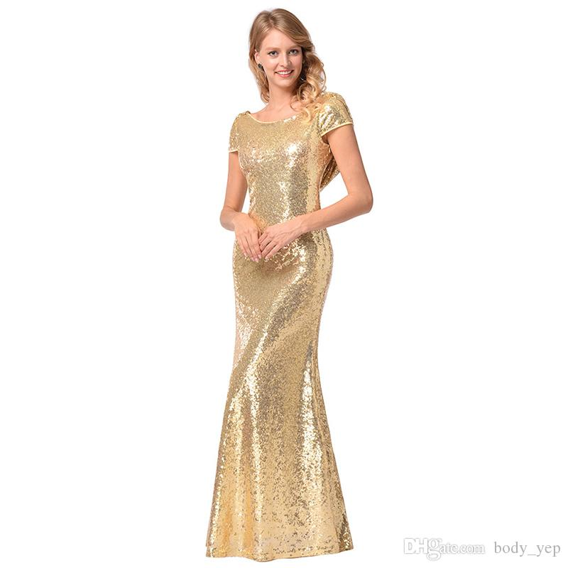 Compre Lentejuelas Vestido Dorado Para Mujer Vestidos Largos De Dama De Honor Sexy O Cuello Sin Respaldo Plisado Vestido Formal Vestido De Boda De La