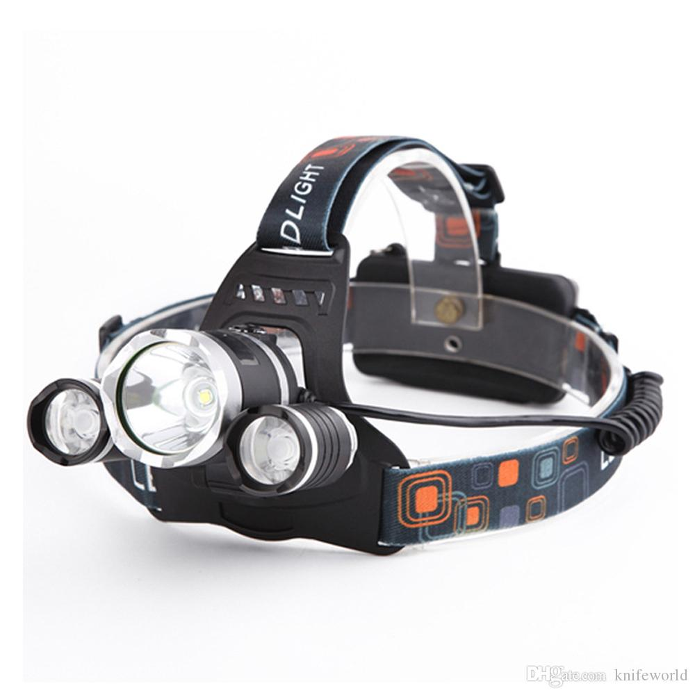 3pcs CREE T6 LED Headlamp Aluminum Alloy head Focus Adjustable Waterproof High Bright Camping Lamp with 2pcs 18650 Batteries and Charger