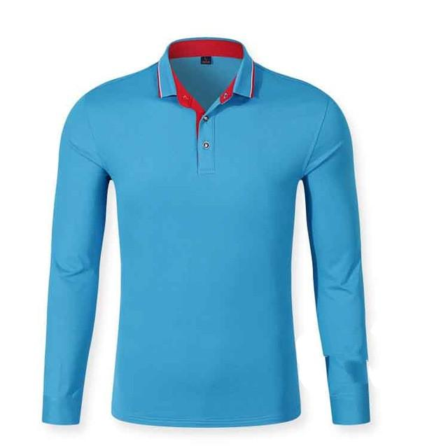 Autumn Men Polo Shirt Mens Long Sleeve Solid Polo Shirts Cotton Good Quality Plus Size Xs -3xl