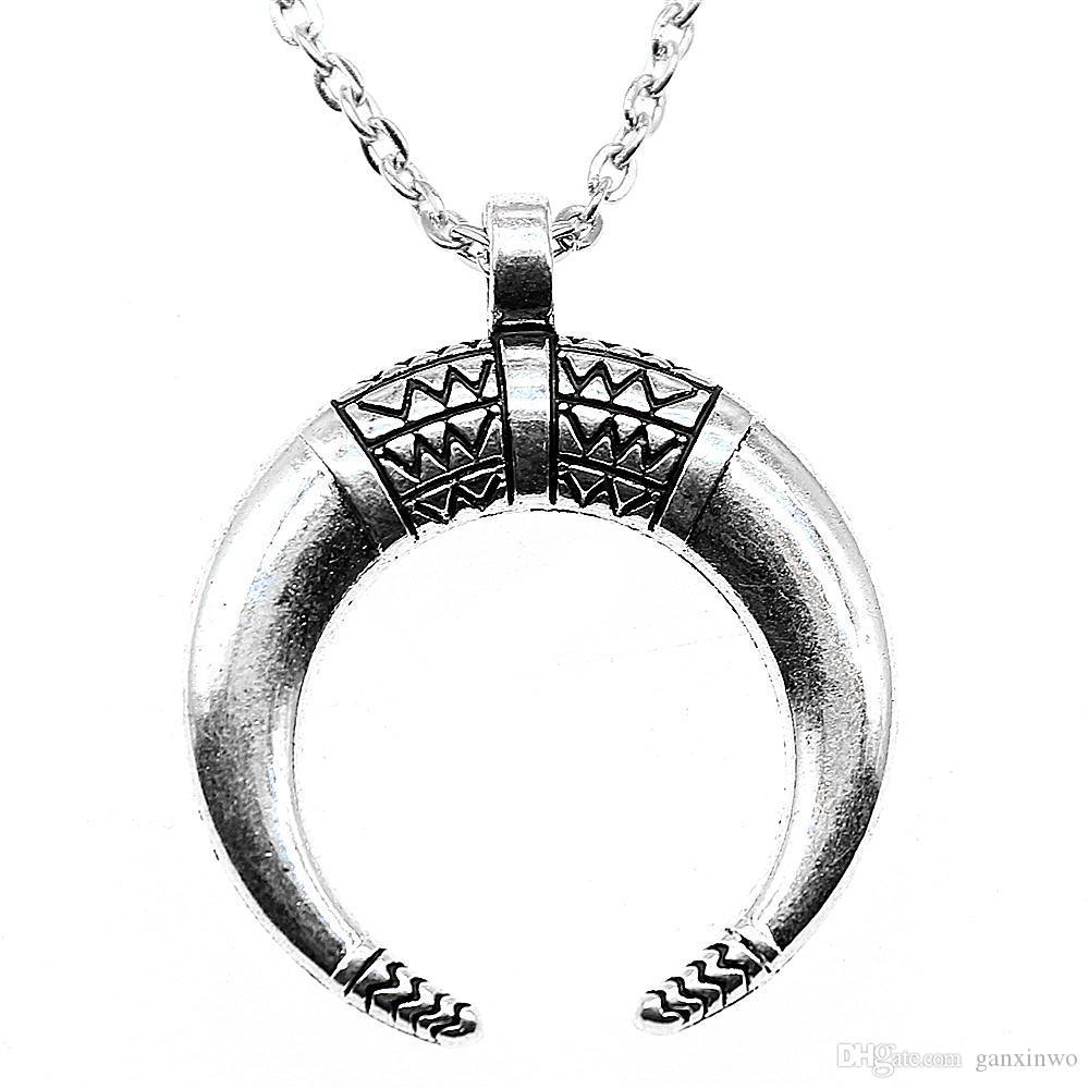 WYSIWYG 5 Stücke Metall Kette Halsketten Anhänger Frauen Halskette Schmuck Hörner Crescent Moon 34x27mm N2-B13552