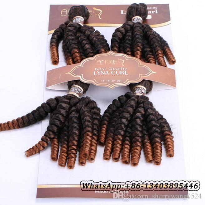 Ombre Tante Funmi Kunsthaar spinnt 4 Bundles Two Tone T1B / # 30 Kurze Haareinschlagfaden Erweiterungen Funmi Haar spinnt federnd Spirale Romantik Curls