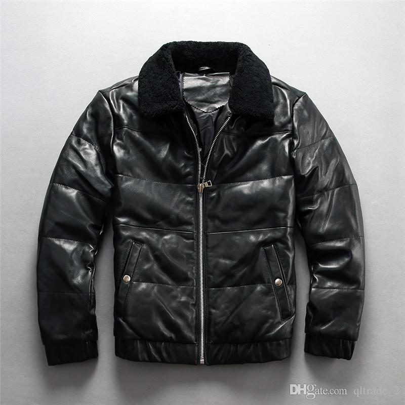 manteau de fourrure en peau de mouton en cuir véritable noir