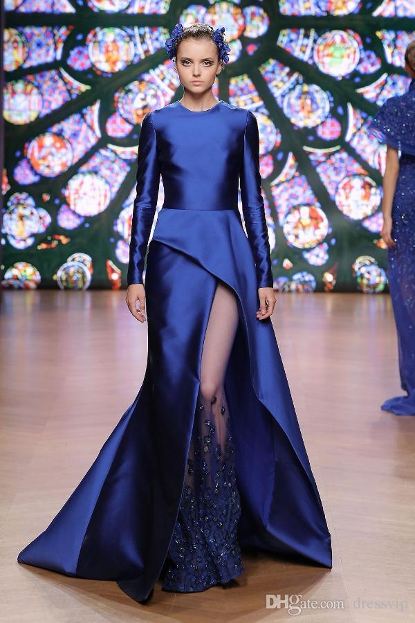 Abiti da promenade blu scuro Gioiello Collo Maniche lunghe in raso Spacco laterale Abiti da sera con scollo a bar Abiti da donna su misura Plus Size Dress