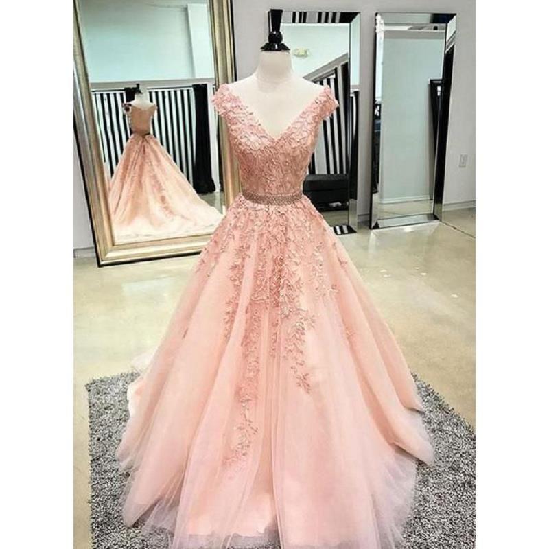 Real Photos Blush Pink Lace Prom Dresses 2018 Sexy Deep V Neck Vestidos de noche Una línea Vestido De Festa Vestidos para ocasiones especiales