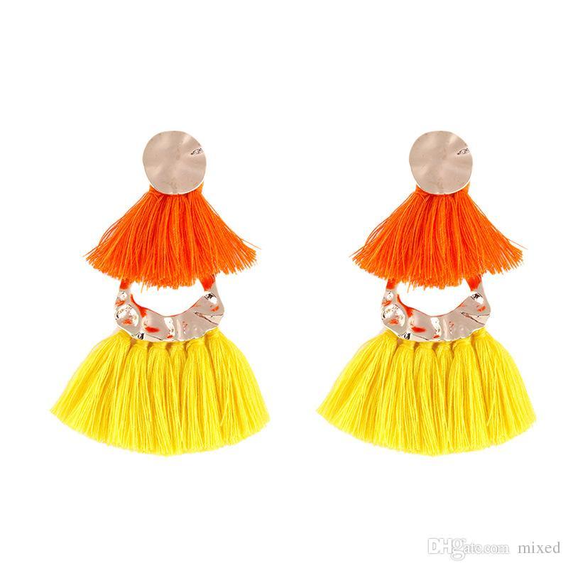 2018 новый этнический кисточка серьги с подвесками для женщин серьги с бахромой серьги мода ювелирные изделия бохо летние украшения