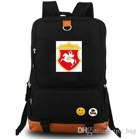 sacchetto di scuola della tela di canapa giornata all'aperto pacchetto AC Ancona zaino Associazione Calcio zainetto di calcio zaino calcio squadra zaino