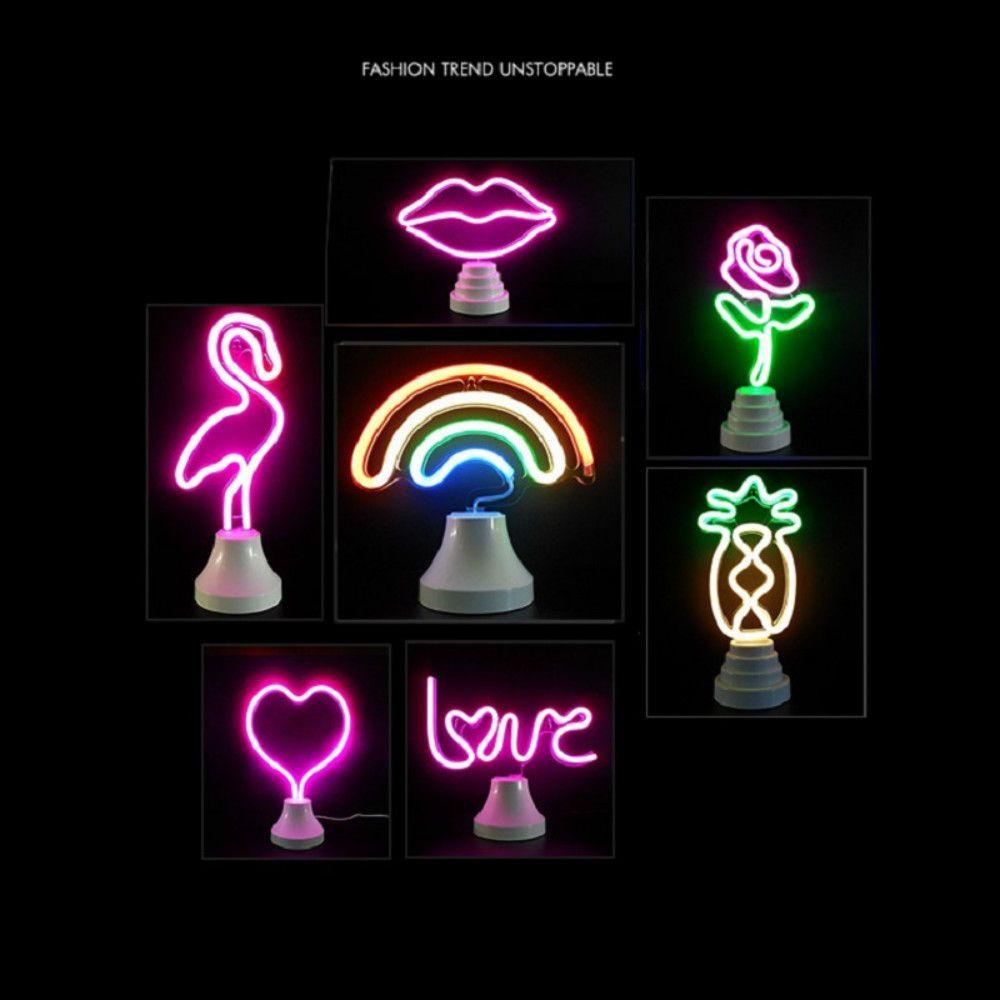 Flamingo Свет LED Neon Lights Cactus Ананас Big Mouth Птицы Радуга Таблица Настольные лампы Моделирование украшения Свет Оптовая Dropship