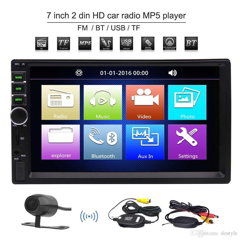 EinCar 2 DIN Bluetooth Car Radio 7 '' Toush Pantalla Universal Car Stereo MP5 USB / SD Reproductor Radio FM Entretenimiento AUX-IN Double Din Autoradio