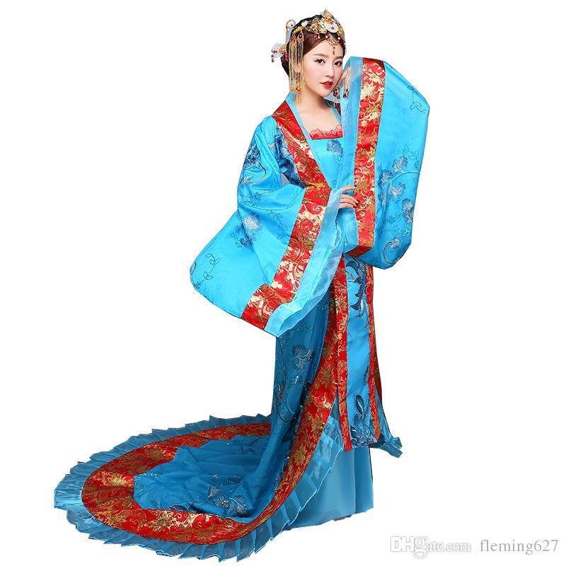 Hanfu mujeres ropa étnica tradicional Royal Lady chino escenario vestido azul Hanfu Cosplay traje nacional asiático antiguo traje chino