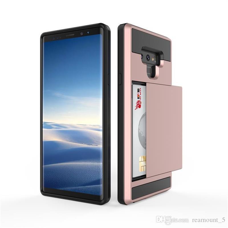 Neuer Ankunfts-Luxusdoppelantiklopf-hybrider Handy-Kasten für schroffe Dia-Karten-Telefon-Abdeckung Samsungs J3 2018 A8 2018
