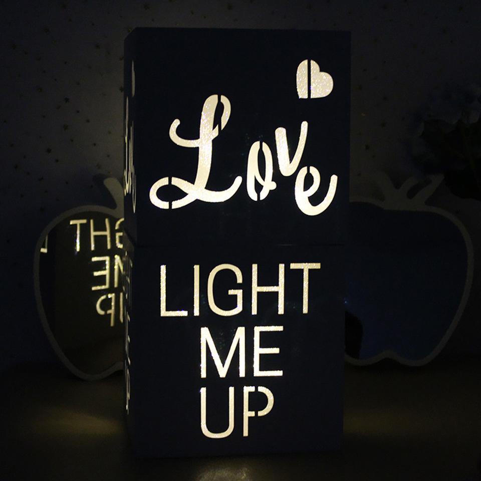 Me ilumine Casamento Acessórios de decoração Para Casa Caixa De Luz De Madeira Llluminated Led Letter Modeling Lamp Amor Casamento Luz Da Noite