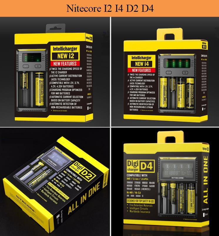 Nitecore I2 I4 I8 D2 D4 Caricatore universale per display Intellicharger per 18650 18350 1850 14500 Batteria elettronica per sigarette