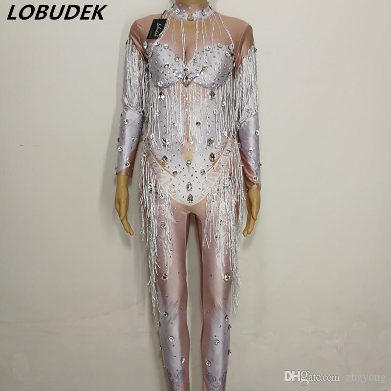 Justaucorps sexy Barboteuses costume féminin Pierre brillante Combinaison de scène en cristal usure