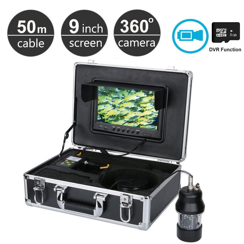 50M 9 inch LCD Fish Finder Underwater Fishing Camera Recorder DVR 360 degree