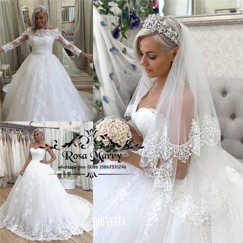 Princess Lace Ball Gown Muslim Wedding Dresses Detachable Wrap 2019 Long Sleeves Nigeria African Dubai Country Bridal Gowns Vestido De Novia