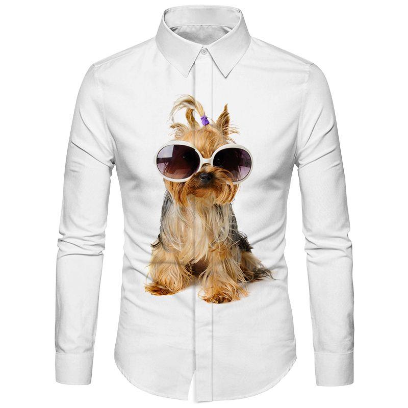 Cloudstyle Casual Mens Shirt Long Sleeve Turn-Down Collar Business Formal Office Shirt Schnauzer Dog Print Big Size Thin Shirts