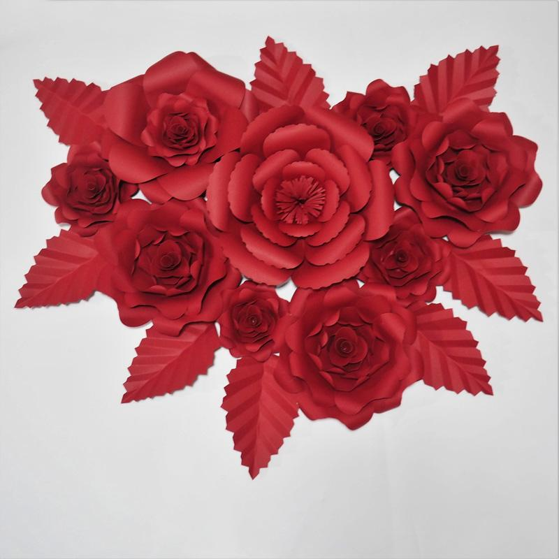 Giant Paper Red Rose Artificial Flowers Backdrop 9PCS + 8 Leaves For Wedding & Event Decor Baby Nursery Retail Store Deco