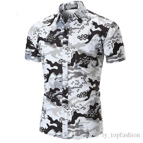 2018 Nouveaux Hommes Chemises Habillées À Manches Courtes Imprimé Chemise Hommes Hawaii Casual Shirt Marques Été Slim Hauts Chemise Taille Européenne