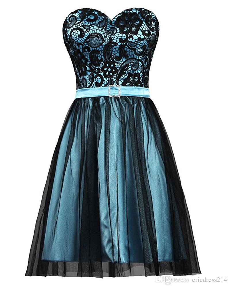 2018 Short Prom Dresses Lace Top Belt Sweetheart Neckline Mini Formal Evening Party Gown