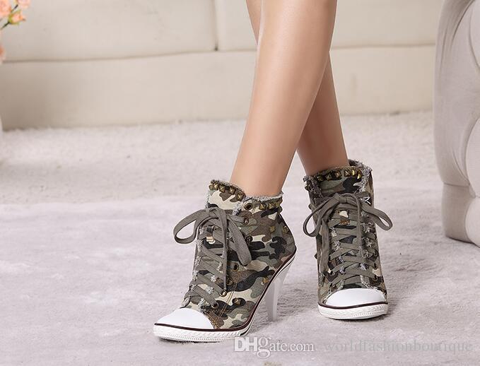 White Women Denim Ankle Boots Lace Up High Heels Female Rivets Studded Autumn Platform Short Booties Women Pumps
