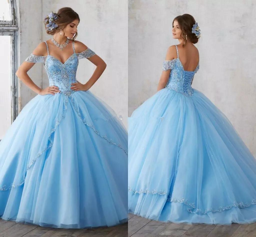 Luce cielo blu quinceanera abiti tappo maniche spaghetti perline cristallo di lusso di lusso 16 ragazze ball ball gown abiti da festa abitudine