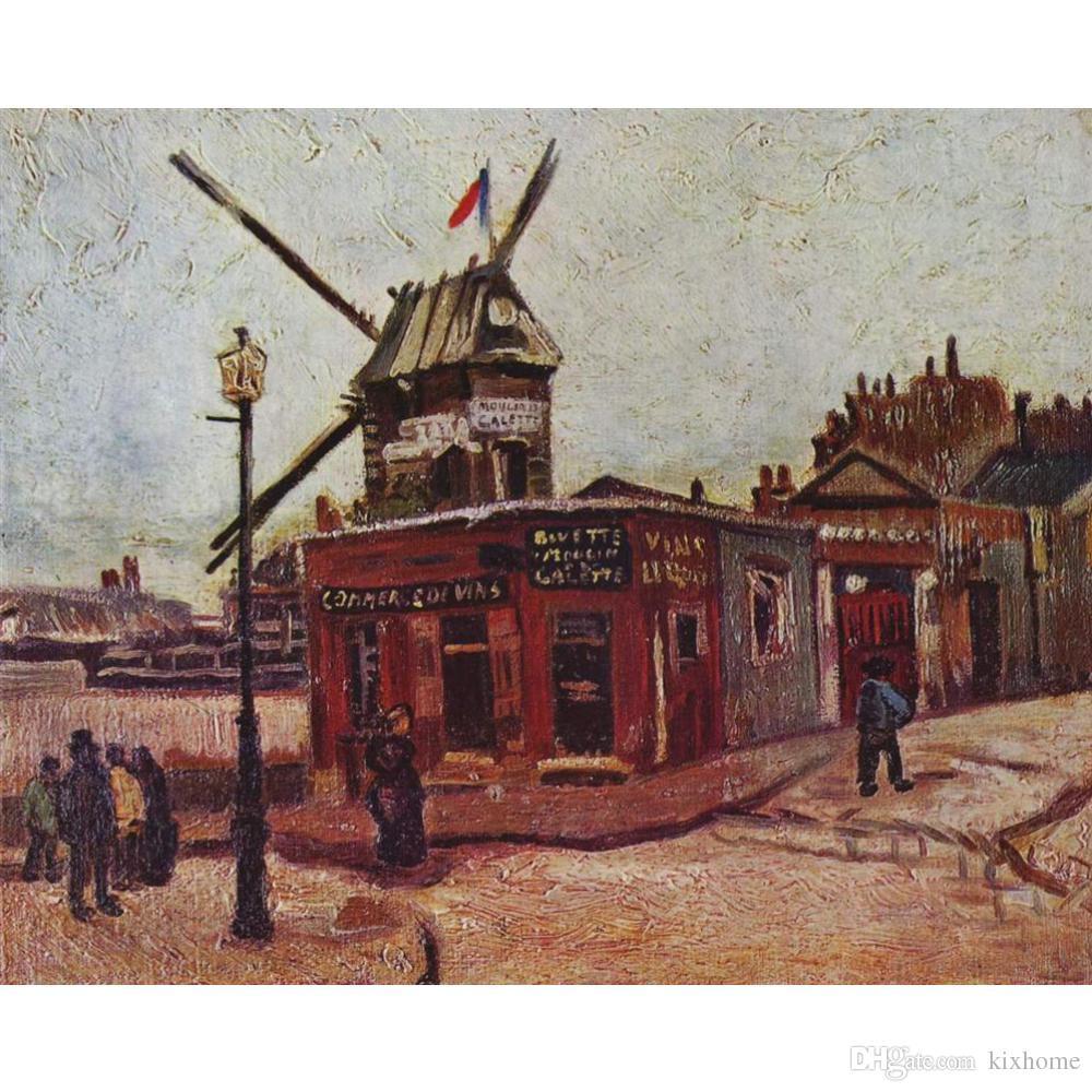 El boyalı Manzaralar sanat Moulin de la Galette Vincent Van Gogh yağlıboyalar için Ev dekor