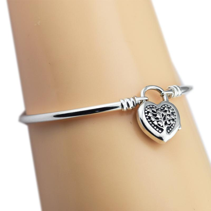 Pandulaso MOMENTS Sterling Silver Bangle with Tree of Love Sterling Silver Bracelet for woman DIY Fit European beads & Charms S18101308