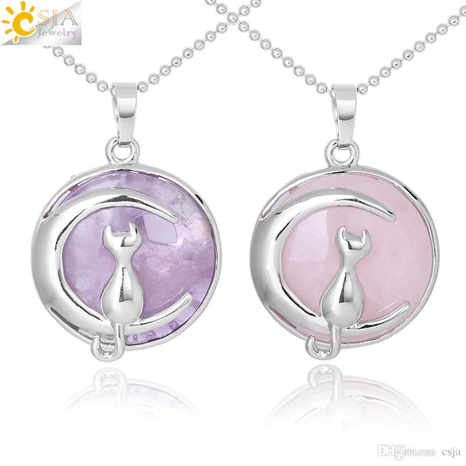 CSJA Nuevas Mujeres de la Llegada Collar de Gato en la Luna Gemtone Natural Colgante de Cristal de Cuarzo de Rose Colgantes Hardshell Kitten Charms Joyería F341