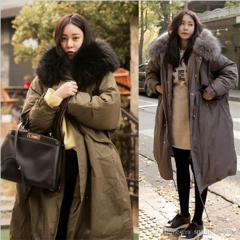 Gran abrigo de invierno de piel con capucha engrosada Parka mujeres de gran tamaño suelta largo abrigo de invierno abajo algodón damas abajo Parka chaquetas FS5237