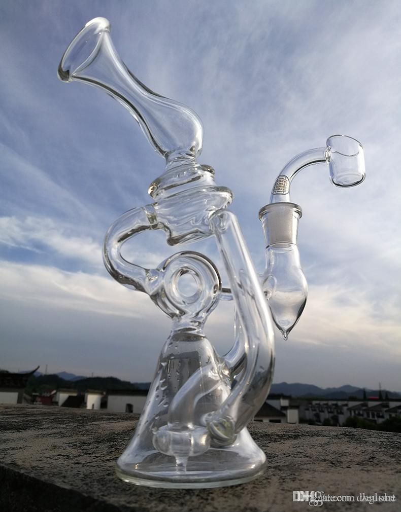 New glass recycler with quartz banger glass bong water pipe fab egg hookahs glass bong oil rig smoking pipe