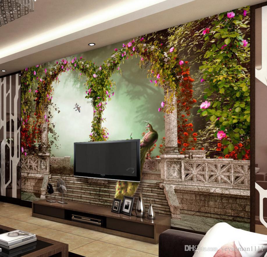 Özel 3D Duvar Kağıdı Boyama Ev Dekor Duvar Resimleri Oturma Odası Yatak Odası Tuğla Duvar Kağıdı Tavuskuşu Roma Sütun Fotoğraf Kağıdı 3D