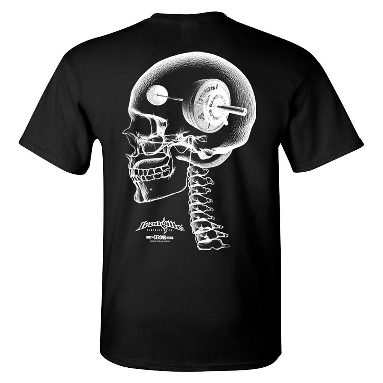 Ironville Think Heavy - Barbell con pesas y cráneo camiseta