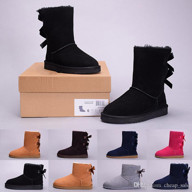 info for b5f38 24bc6 UGG boots Populäre Winter Bowtie WGG Frauen Australien Classic knie Stiefel  Stiefeletten Schwarz Grau kastanienbraun marineblau rot Frauen Mädchen ...