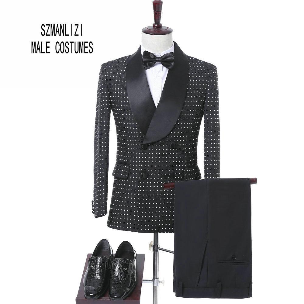 Elegante Marke Männer Anzüge 2017 Kostüm Homme Maßgeschneiderte Schwarze Punkte Zweireiher Smoking Bräutigam Hochzeitsanzüge Formale Party