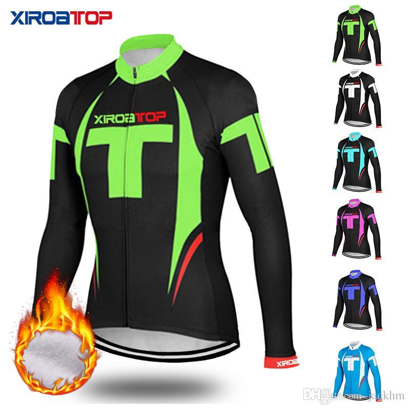 XIROATOP Yeni sıcak satış 2018 Kış Termal Polar Bisiklet Jersey Uzun Kollu Bisiklet Giyim Roupa De Ciclismo Invierno Hombre MTB Bisiklet